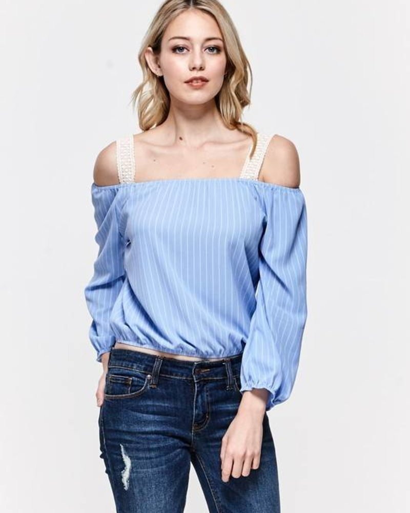 miley + molly l1376t cold shoulder top
