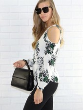 lumiere at02365 floral cold shoulder top