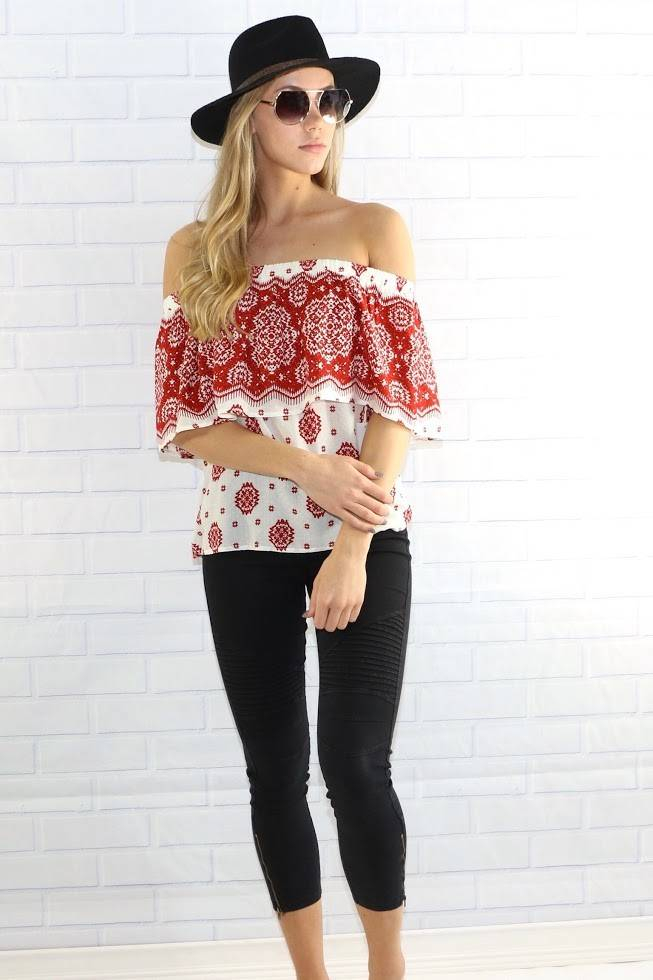 lumiere at02357 printed off shoulder top