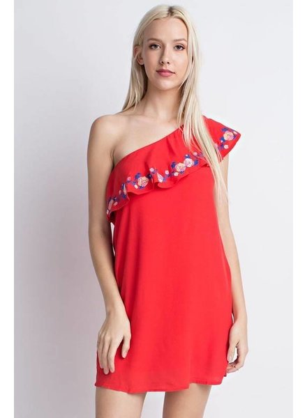 7id0051ab embroidered one arm dress