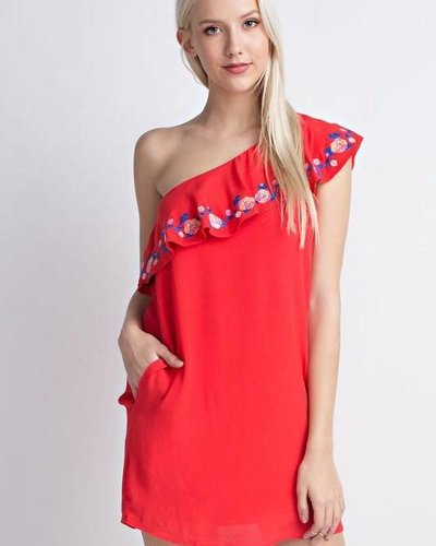 Honey Punch 7id0051ab embroidered one arm dress