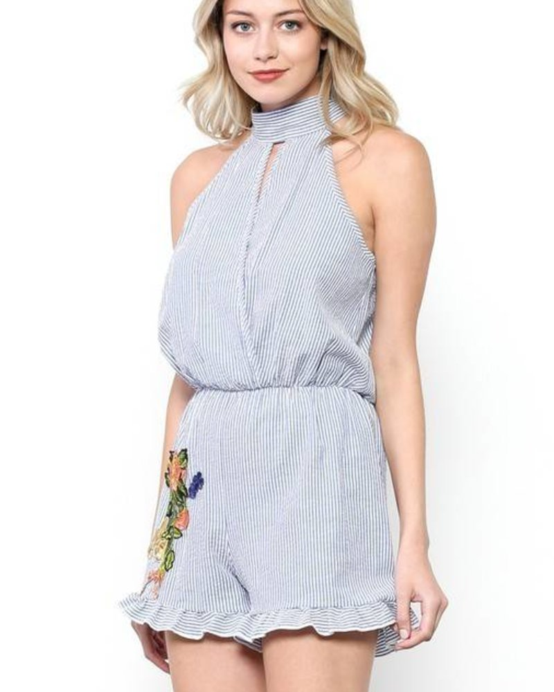 MI IN Fashion INC. by6295 pinstripe embroidered romper
