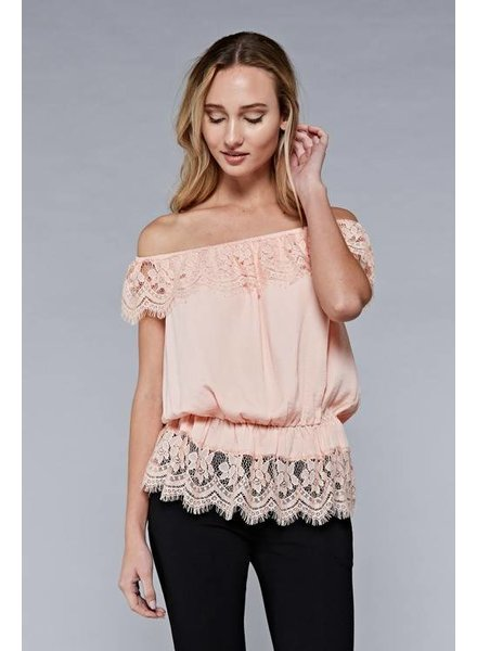 Do & Be y13670 off shoulder lace trim top
