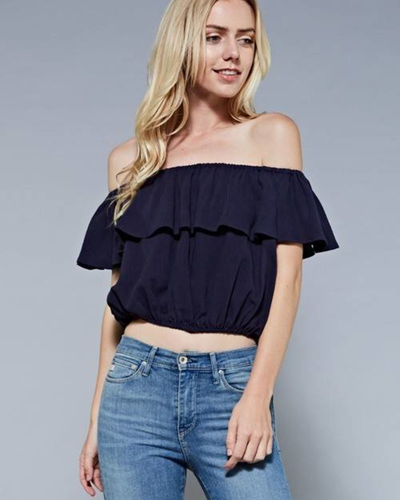 Mustard Seed s10792 ruffled off shoulder top