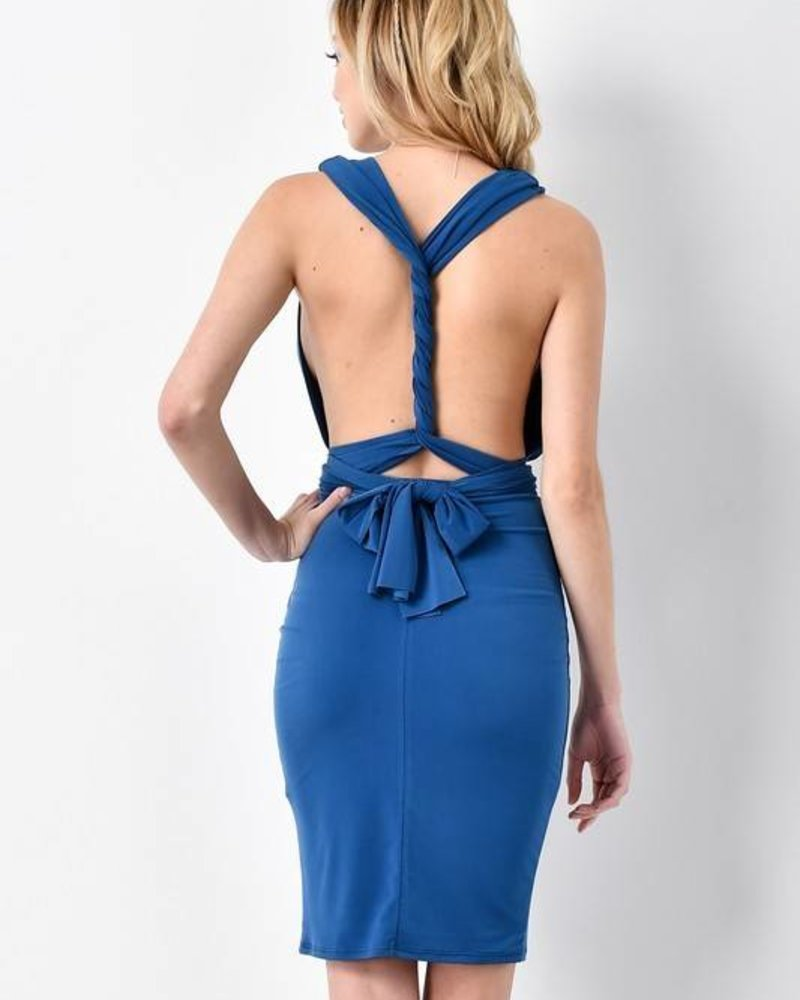 Blue Blush BD8514 wrap bodycon dress