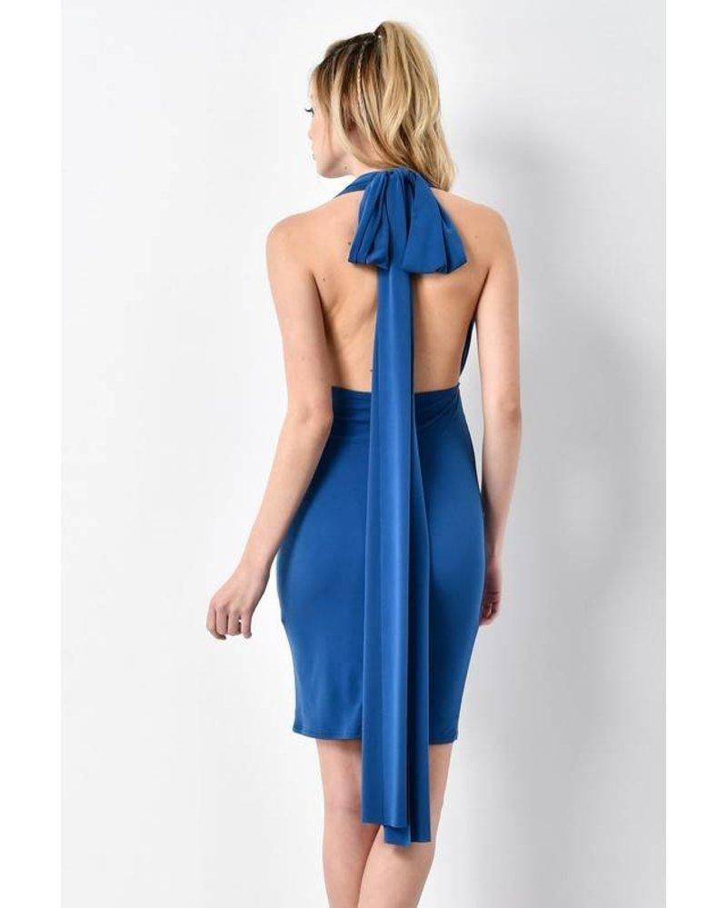 BD8514 wrap bodycon dress