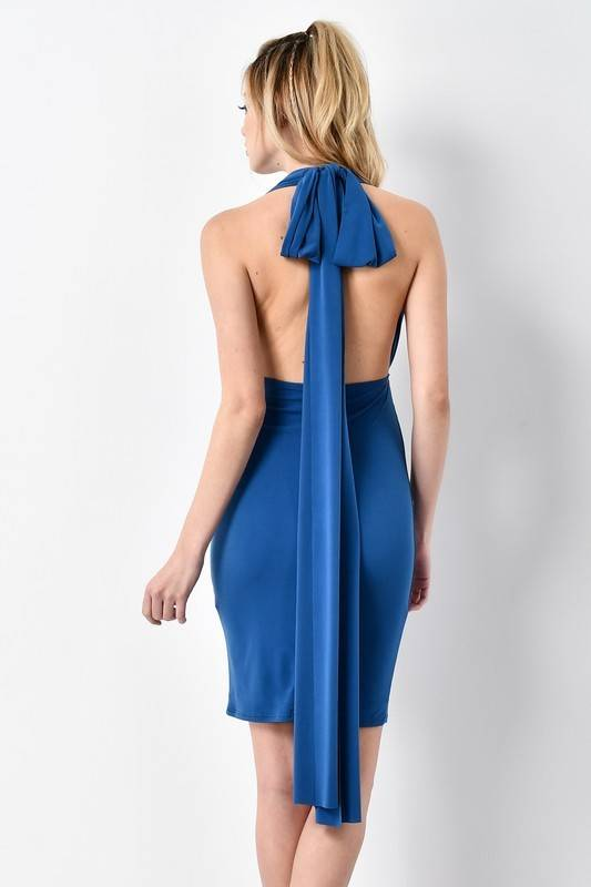 Blue Blush BD8514 wrap bodycon dress