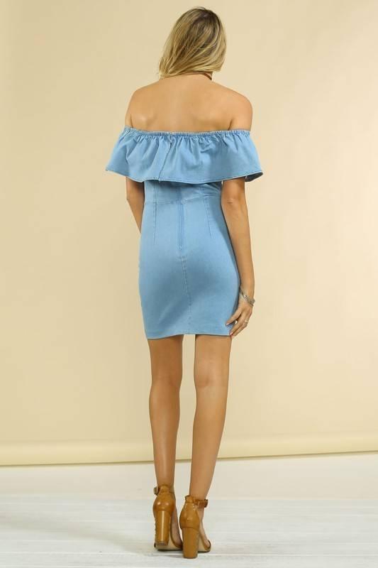 Jealous Tomato jd5061off shoulder denim dress
