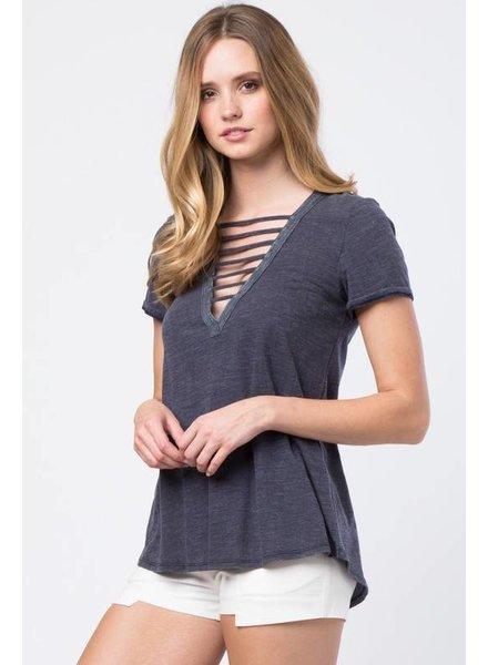Love Riche lt23325 lace up tshirt