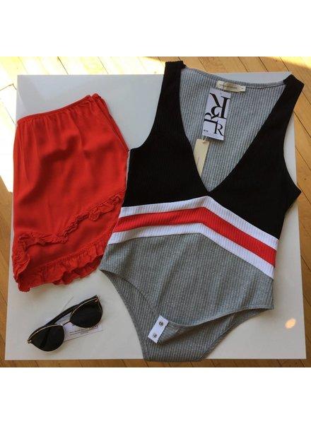 makers of dream js134 stripe color block bodysuit