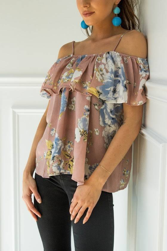 Teenplo t4841 layered floral top