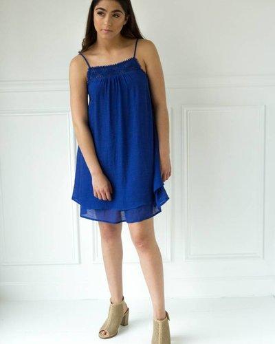 double zero 17F367 lace trim drop waist dress
