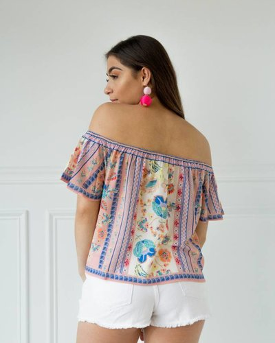 Flying Tomato IT9627 off shoulder print top