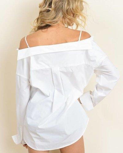 dress forum ft1831 button down off shoulder top
