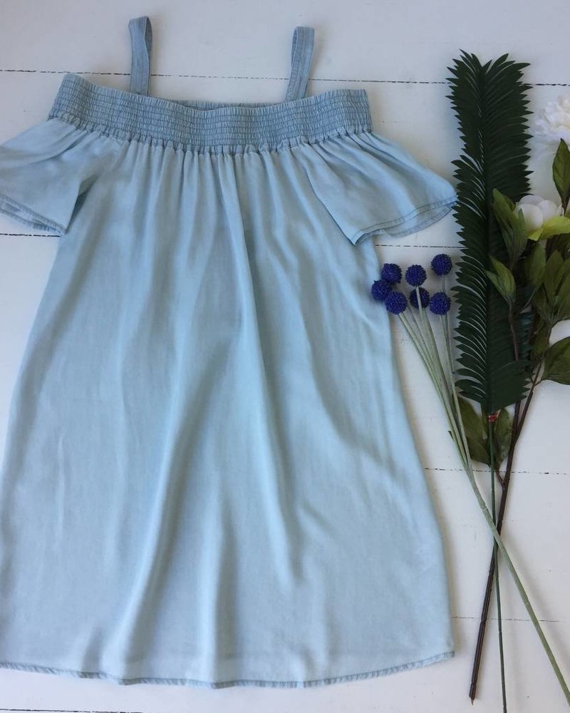Naked Zebra d108037 off shoulder chambray dress
