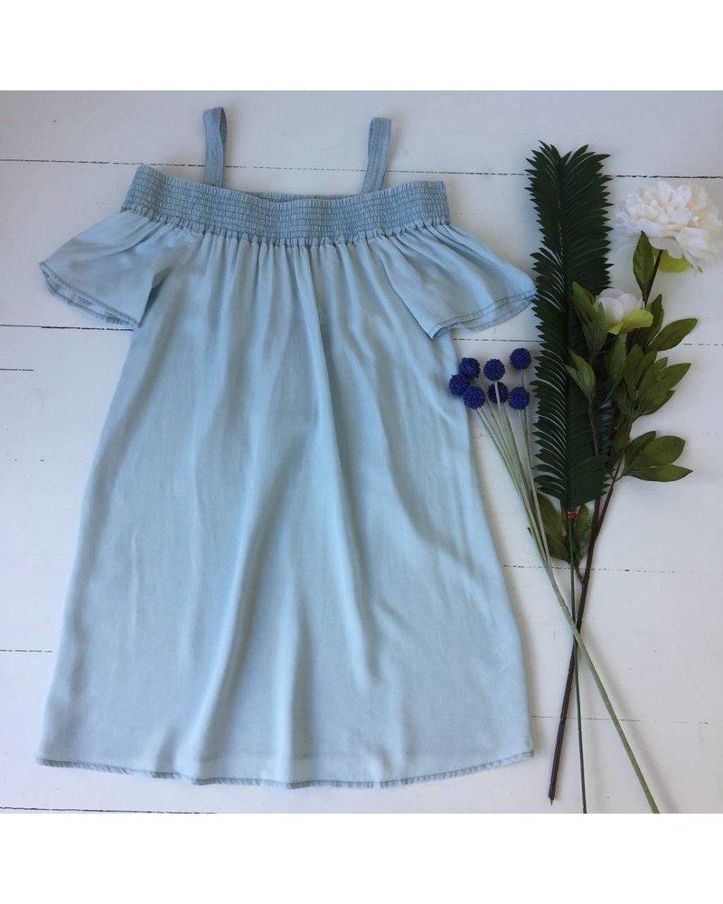 d108037 off shoulder chambray dress