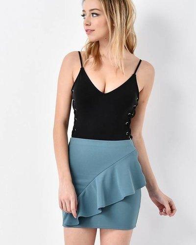 Blue Blush IBR8036 lace up bodysuit