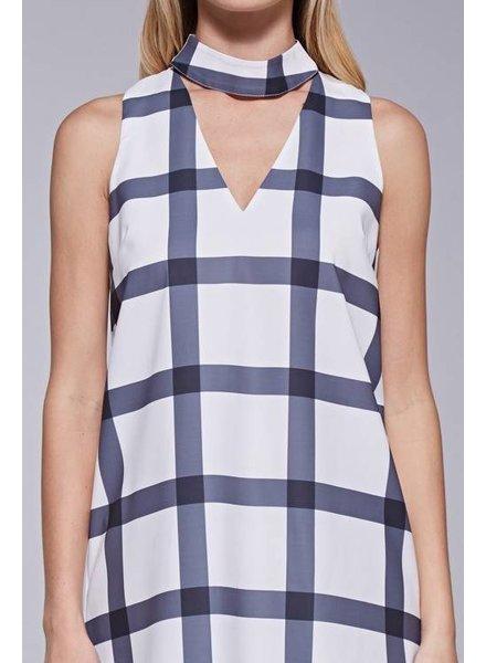 Do & Be Y13827 choker neck plaid dress