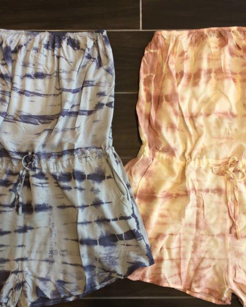Aakaa r90283h tie-dye strapless romper