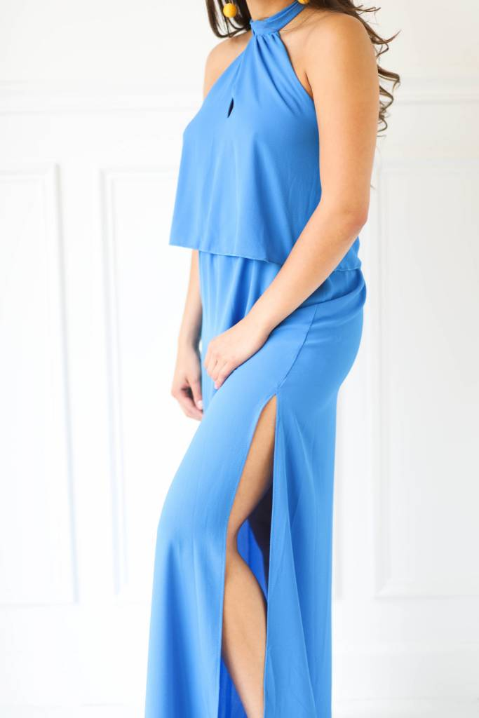 Tyche d-3264 halter front maxi