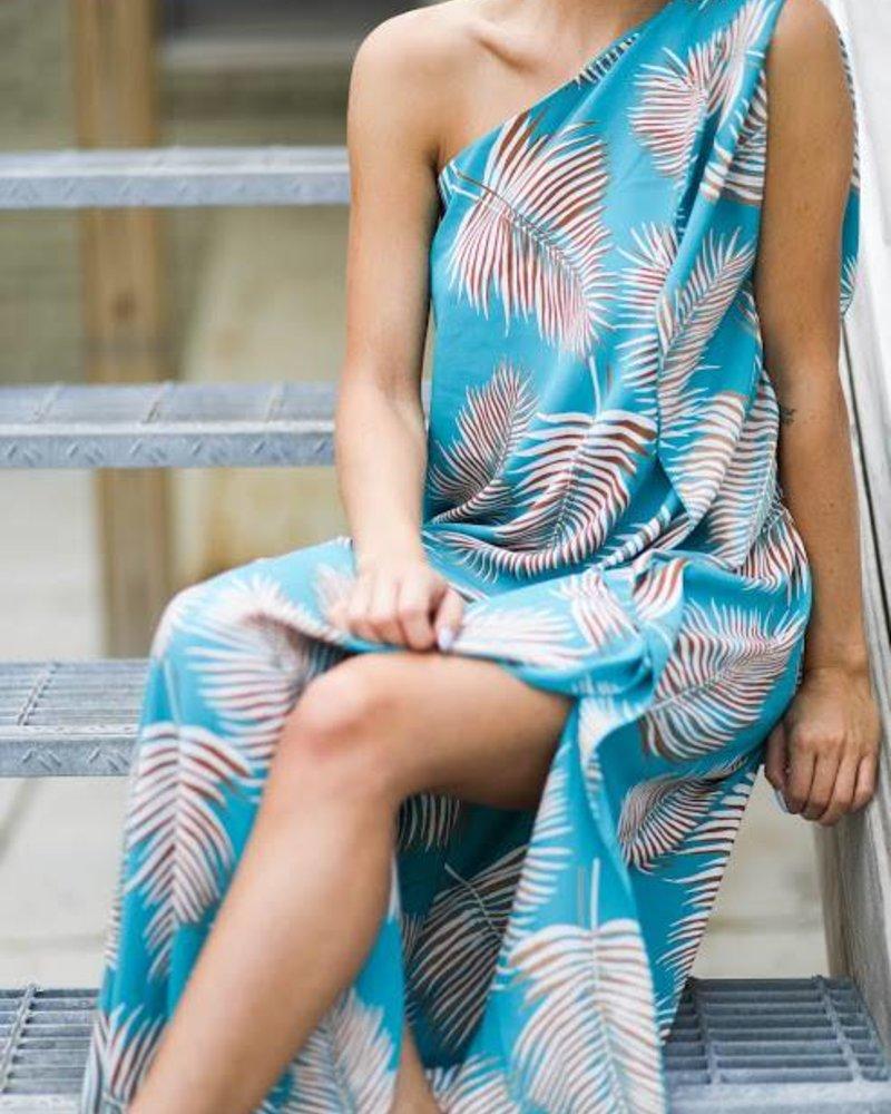 Tyche d-3296 print one arm maxi dress