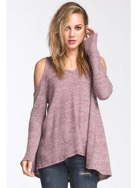 cherish T18746 cold shoulder waffle sweater