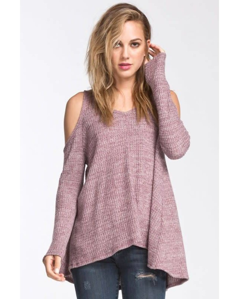 T18746 cold shoulder waffle sweater