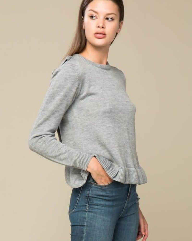 lumiere NT17022 sweater criss cross ruffle