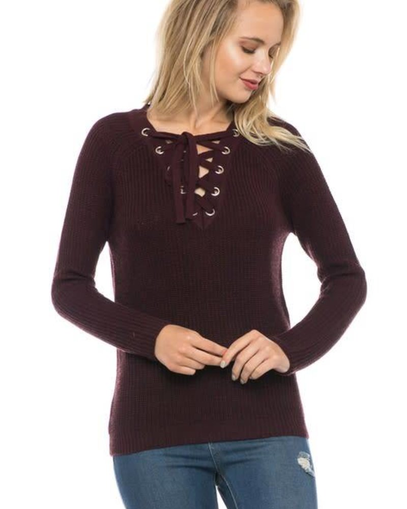 love tree 9220wh lace up sweater