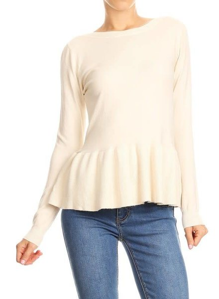 On Twelfth 1220347 ruffle peplum sweater