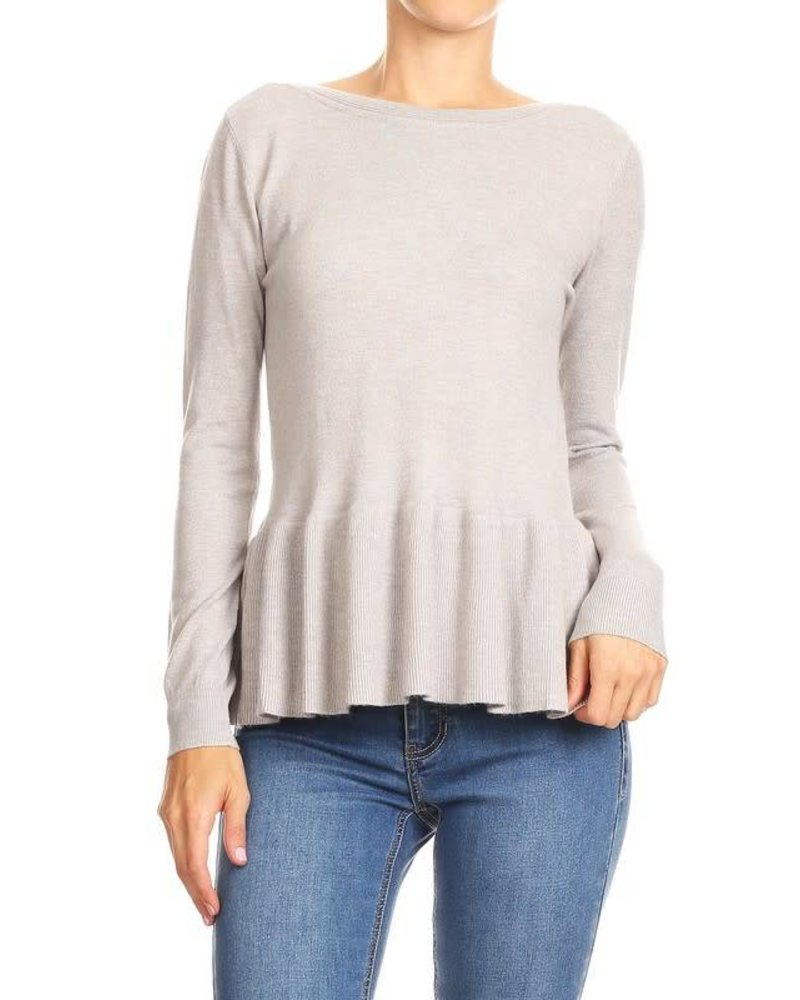 On Twelfth 1220347 ruffle peplum sweater