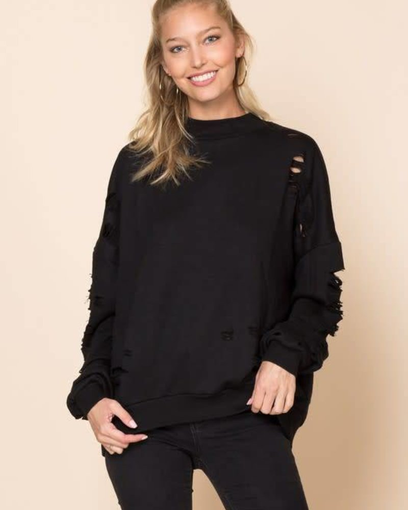 Sweet Claire stk1430 distressed sweater top