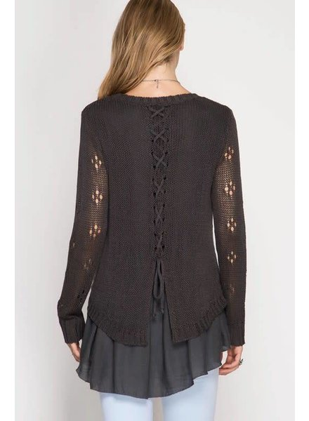 she & sky sl5027 ruffle and lace-up sweater