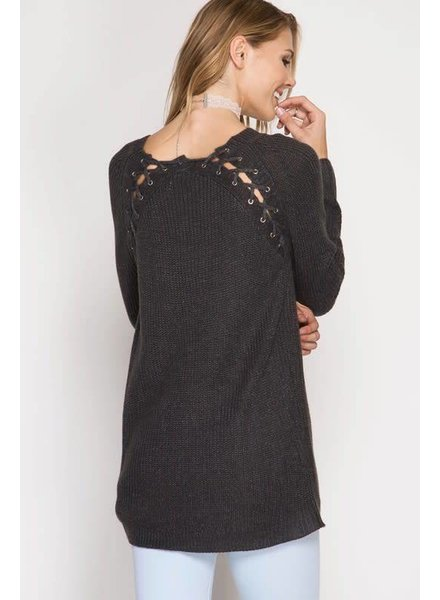 she & sky sl4829 lacing sweater