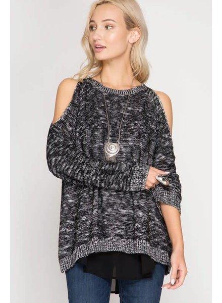 she & sky sl1030r layered chiffon sweater