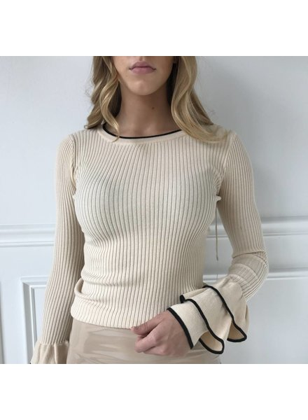 lumiere NT17194A lslv knit ribbed top