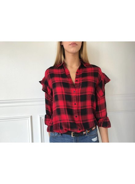 lumiere NT17145a lslv flannel shirt w/ruffles