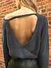 she & sky SL4825  surplice sweater w/ open back