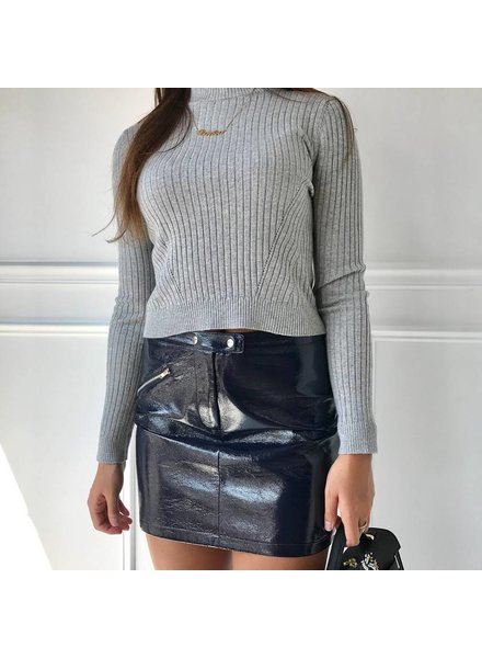 Y14437 faux leather skirt