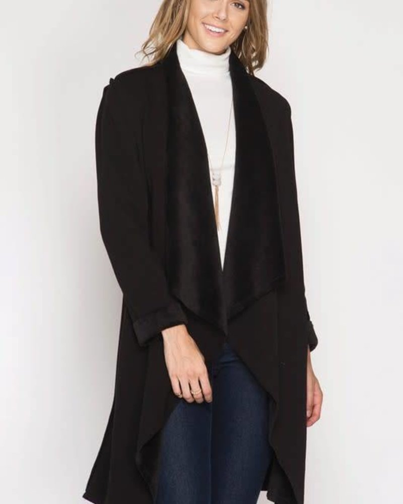 she & sky SL5508 double faced open cardigan