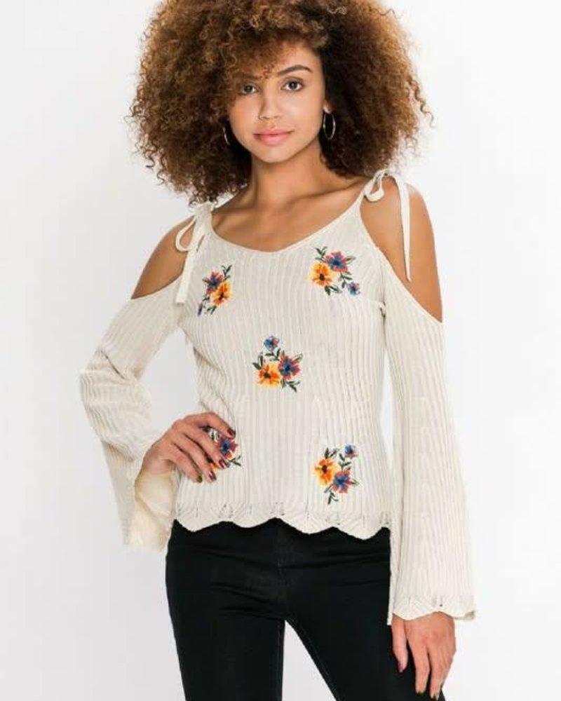 Flying Tomato isw4792 cold shoulder w/ bell sleeves