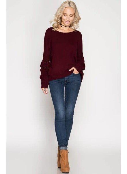 she & sky SL5184 sweater w/ eyelet sleeve