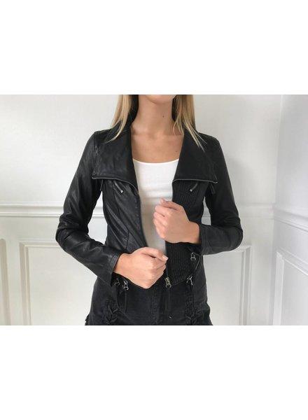 Sole Mio i5j1192 leather jacket w/ zipper