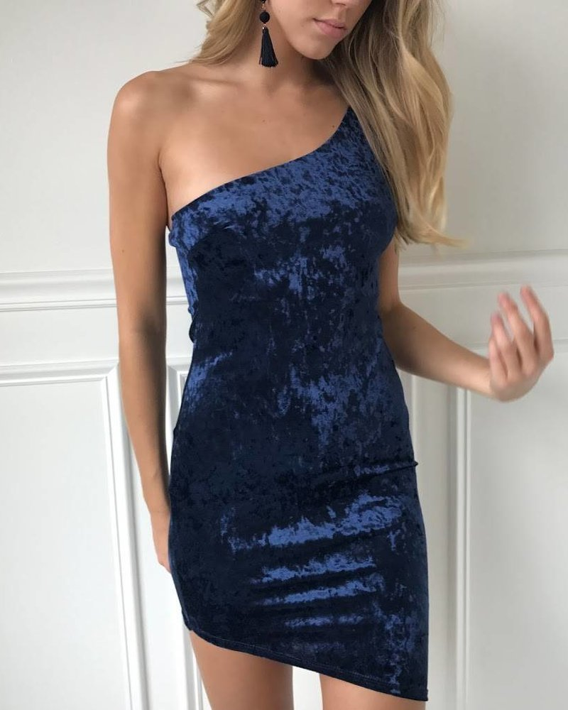 Blue Blush BD8654-1 velvet one shoulder