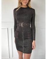 A Peach YD-30459 long sleeve belt dress