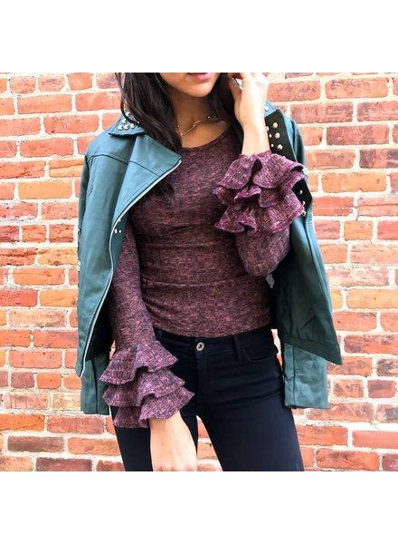 emvlem ET0247 ruffle sweater top