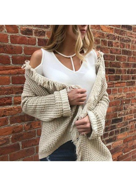 Sweet Claire 2642kt108 cold shoulder top w/ y-string neckline