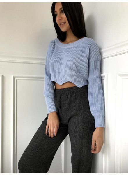 Blue Blush IBT3054 scalloped crop sweater