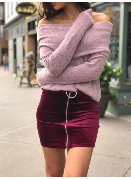Blue Blush BK6141-3 velvet zipper skirt