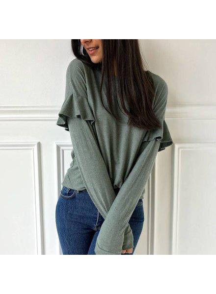 cherish T19252 ruffle sleeve top